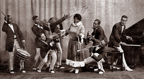 Mamie Smith and her Jazz Hounds, 1922. Coleman Hawkins with the sax at right