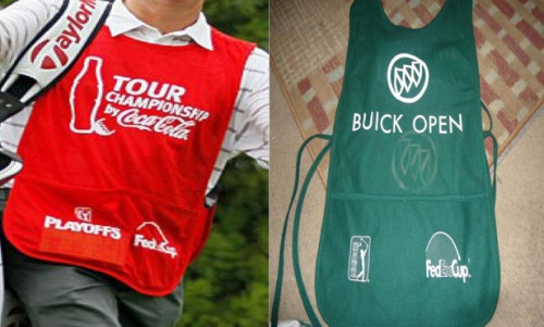 Caddy bibs worn at professional golf tournaments